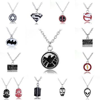 Deadpool Dead pool Taco Super Hero Geeky Iron Man Batman Superman Star Wars Captain America Spiderman doctor who punisher  Flash Batman Necklace AT_70_6