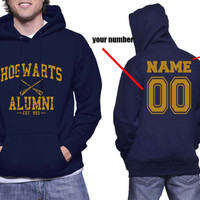 Custom back, Hogwarts Alumni YELLOW print printed on NAVY Hoodie