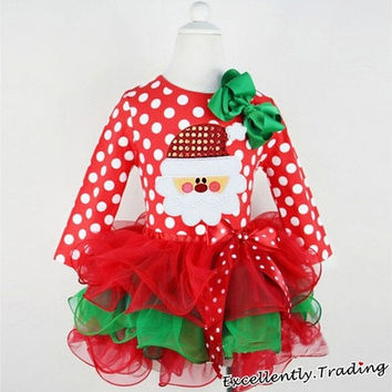 Christmas Long-sleeved Pleated Layered Clothing Santa Claus Polka-dot Bowknot Gauze Dress [8270460097]
