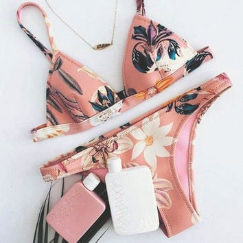 Fashion Flower Print Triangle Bikini Set Swimsuit Swimwear