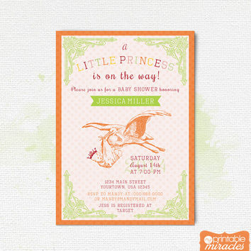 Printable girl baby shower invitation, Stork baby shower invitation, Vintage printable baby shower invite / customized digital file