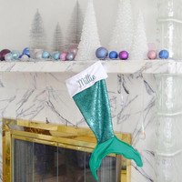 Chirstmas stocking - mermaid tail christmas stocking - mermaid christmas gift - personalized stocking for kids - green sequin stocking
