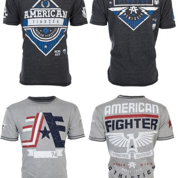 Licensed Official AMERICAN FIGHTER Mens REVERSIBLE T-Shirt CORNERSTONE Athletic Biker Gym UFC $50