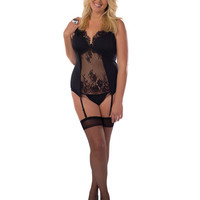 Flowered Lace Bustier W-thigh Highs Black 3x
