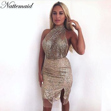 NATTEMAID Mesh Halter Backless Off Shoulder Dresses 2018 Summer Hollow Out Sequin Bodycon Dress Women Casual Mini Sexy  Vestidos