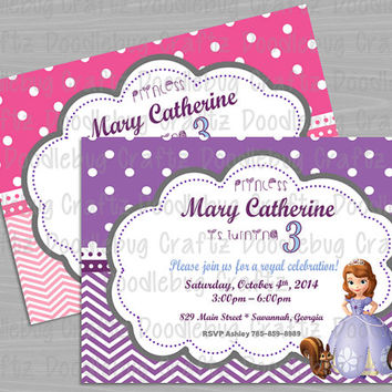 PRINTED - Sofia the First - Disney Junior - Princess - Personalized Custom Birthday Party Invitation. Choose size - 5x7 or 4x6