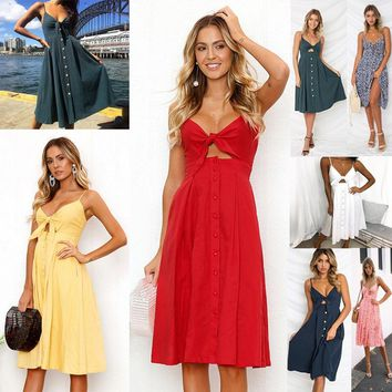 European Style Bohemian Fit and Flare Hot Sale Deep V-Neck Women's Sexy Strap Buttons Backless Bow Dress