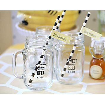 Personalized 16 oz. Mason Jar Mug - Kate's Sweet as Can Bee Baby Shower Collection