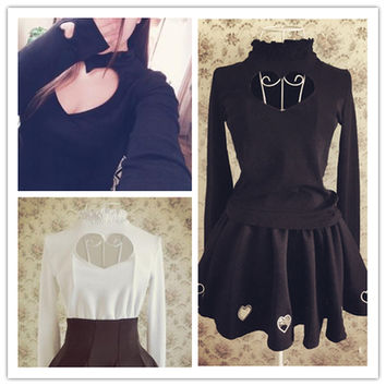 S/M Black/White Japanese Open Chest Heart Out Long Sleeve Shirt SP152256 from SpreePicky