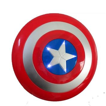 The Avengers Captain America 32CM America Shield Light-Emitting Sound Cosplay property Toy Metallic shield No Button BATTERY