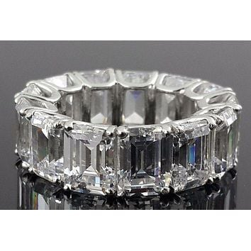 The Ingrid, A Museum Perfect 15TCW Emerald Cut Russian Lab Diamond Eternity Ring