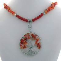Tree of Life Fall Carnelian Natural Stone Necklace