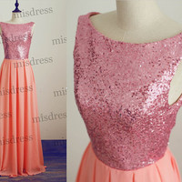 Long Coral Sequin Chiffon Bridesmaid Dress/prom Dress V Back for Wedding