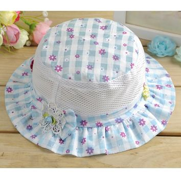 Summer Hat Plaid Bucket Hats Floral Bonnet Girls Cotton Cap Sun Beach Beanie Vacation Caps For 0.5-3 Years Old Baby Accessories