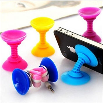Silicone Double-end Suction Cup Holder Sucker Stand For Universal Mobile Phone (Color: Multicolor) = 1645904260