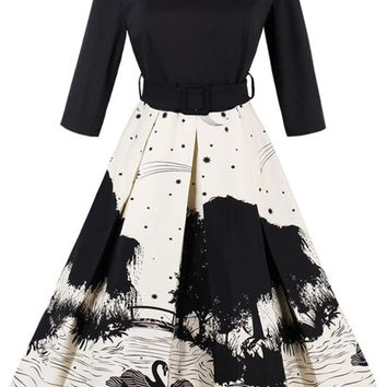 Atomic Black Vintage Swan Scenery Swing Dress