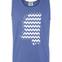 Custom Mississippi Chevron Comfort Color Tank Top.  Show Your state pride and state love. Perfect for the Summer and the Beach