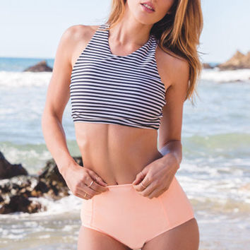Give the Summer a Hit Striped Top and Orange Bottom Bikini Sets Gift