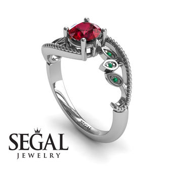 Unique Engagement Ring 14K White Gold Leafs And Branches Victorian Ring Filigree Ring Ruby With Green Emerald - Audrey