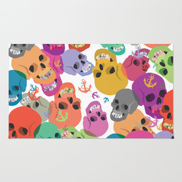 Skulls And Anchors Area & Throw Rug by Ornaart