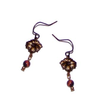 Little Dainty Bronze Earrings - Small Flowers - Tiny Red Stone Bead Dangle, Garnet, Carnelian