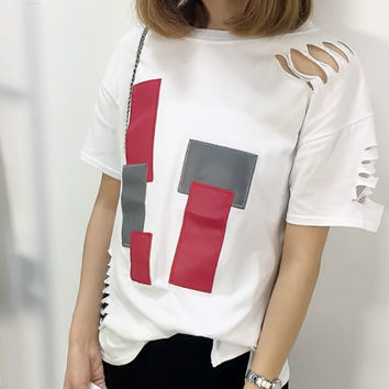 Yomay Women New Fashion Holes white T-Shirt Female Sexy short Sleeve Hollow Out Cotton blend T Shirt Tees 2017 Spring