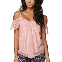 LA Hearts Lace Cold Shoulder Top - Womens Tee