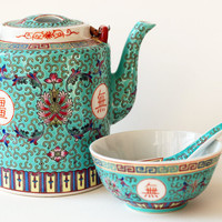 Porcelain Tea Set Turquoise Made in China