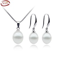 SNH simple cultured freshwater pearl  set  jewerly 100% sterling silver set with 9mm AAA  drop shape pearls