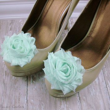 Flower Shoe Clips Mint Shoe Clip Shabby Chic by FlowerCouture