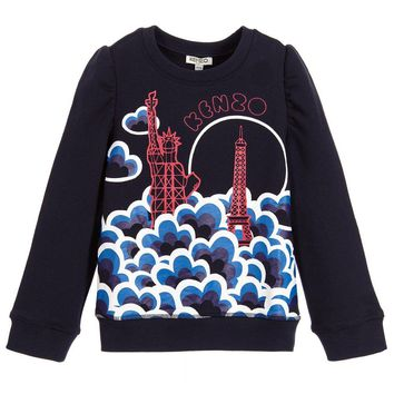 Kenzo Girls Navy Blue Graphic New York Paris Sweatshirt