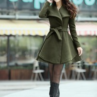 Green Wool Button Front Dress Coat
