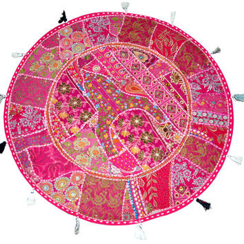 "XL 32"" Round Pink Floor Pillow Cushion pouffe gypsy Bohemian Patchwork floor cushion pouf Vintage Indian Foot Stool Bean Bag tapestry decor"
