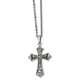 Stainless Steel and Black-plated Cross Necklace - 20 Inch