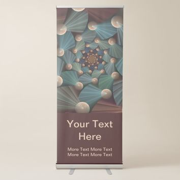 Modern Fractal Art Depth Brown Slate Blue Text Retractable Banner