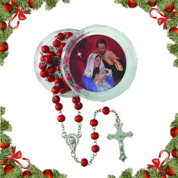 Nativity Christmas Rosary with Case