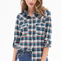 FOREVER 21 Woven Plaid Flannel Blue/Taupe