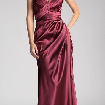 Strapless Long Formal Dress Lace Up Back Burgundy