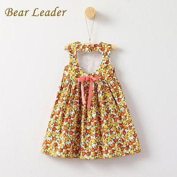 Girls Dress Children Clothing Fruits Print Princes Dress Hollow Back Vest Casual Style Kids Clothes