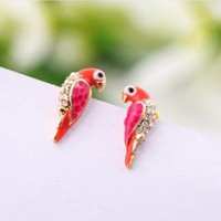 Lovely Parrot Rhinestone Earrings