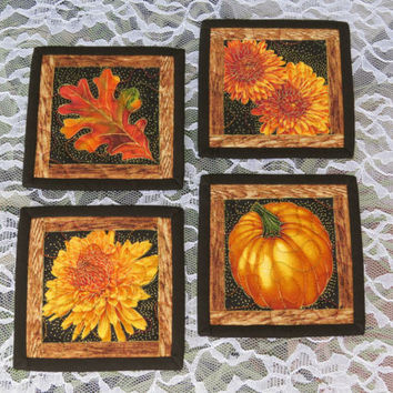 Quilted Fall Coasters Harvest Black 637