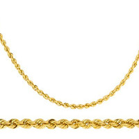 14k Yellow Gold 2mm Rope Chain Necklace 16-24inch