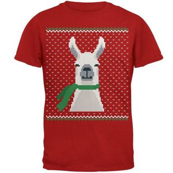 ONETOW Ugly Christmas Sweater Big Llama Green Mens Soft T Shirt