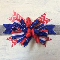 Patriotic stacked bow headband