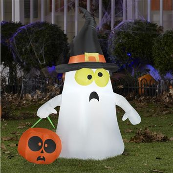 SheilaShrubs.com: Airblown Inflatable Outdoor Ghost with Witch Hat 63975 by Gemmy: Halloween