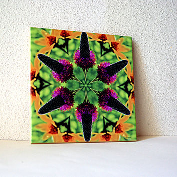 Prairie clover and sunflower mandala ceramic tile, botanical trivet, wall decoration, green yellow violet purple garden, decorative tile
