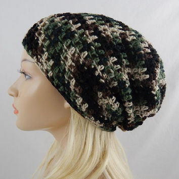 Green Camo Slouchy Beanie Womens Camouflage Crochet Slouch Hat Fall Winter Hat