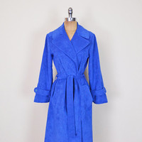 Vintage 70s Blue Faux Suede Sueded Belted Trench Coat Trenchcoat Midi Dress Jacket Maison Mendessolle Joan Leslie By Kasper S Small M Medium