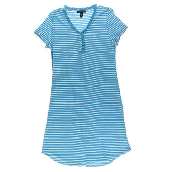 Lauren Ralph Lauren Ruched V-Neck Striped Nightgown