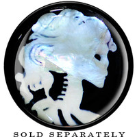 "5/8"" Black Acrylic Skeleton Cameo Mother of Pearl Saddle Plug 
